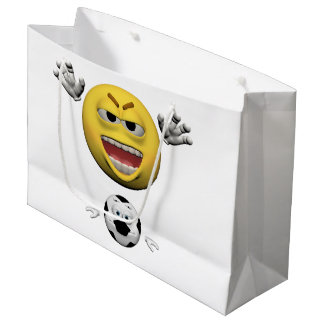 Yellow soccer emoticon or smiley large gift bag