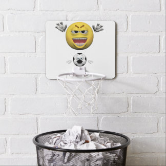 Yellow soccer emoticon or smiley mini basketball hoop