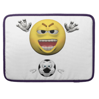 Yellow soccer emoticon or smiley sleeve for MacBook pro