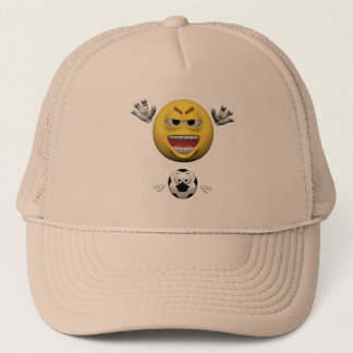 Yellow soccer emoticon or smiley trucker hat