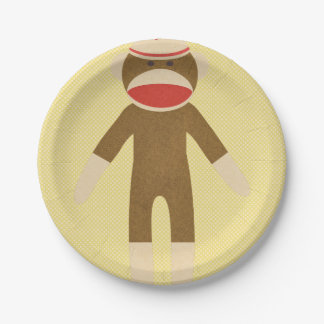 Yellow Sock Monkey 7 Inch Paper Plate