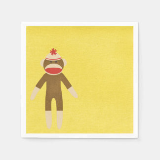 Yellow Sock Monkey Paper Serviettes