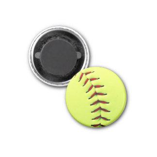 Yellow softball ball 3 cm round magnet