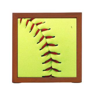 Yellow softball ball desk organiser