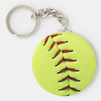 Yellow softball ball key ring