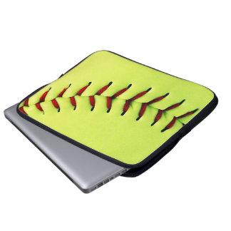 Yellow softball ball laptop sleeve