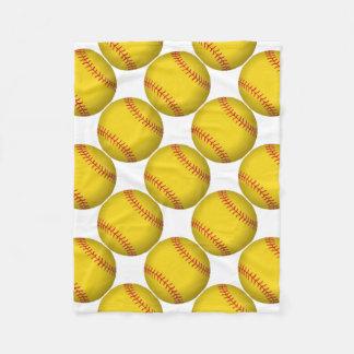 Yellow Softball Fleece Blanket