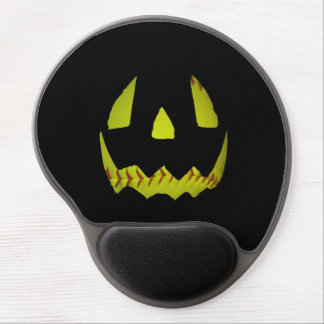 Yellow Softball Jack O'Lantern Face Gel Mouse Pad