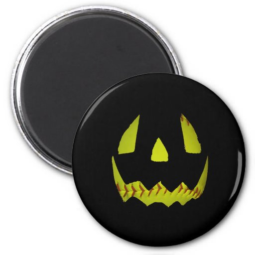 Yellow Softball Jack O'Lantern Face Refrigerator Magnets