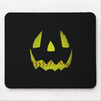Yellow Softball Jack O'Lantern Face Mouse Pad