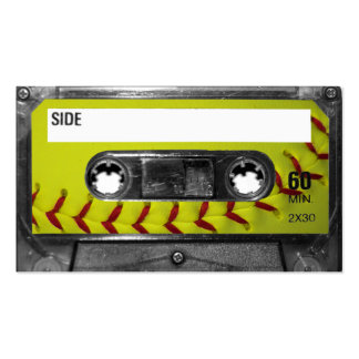 Yellow Softball Label Cassette Business Cards