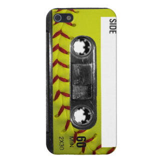 Yellow Softball Label Cassette Case For The iPhone 5