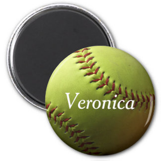 Yellow Softball Mini with Name 6 Cm Round Magnet