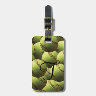 Yellow Softball Multi Wallpaper Luggage Tag