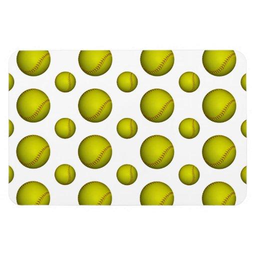 Yellow Softball Pattern Magnet