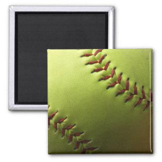 Yellow Softball Plain Square Magnet