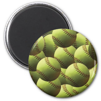 Yellow Softball Wallpaper 6 Cm Round Magnet