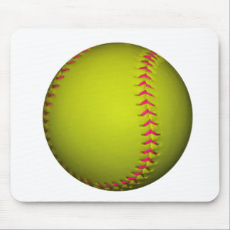 Yellow Softball With Pink Stitches Mouse Pad