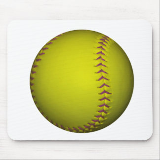 Yellow Softball With Purple Stitches Mouse Pad