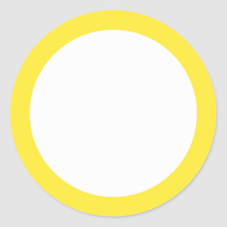 Yellow solid color border blank classic round sticker