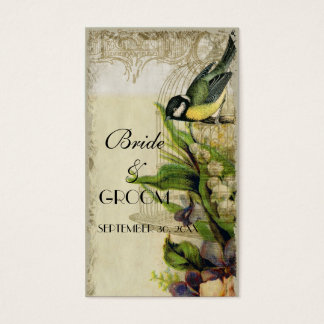 Yellow Song Bird Cage Favor Gift Tags Business Card