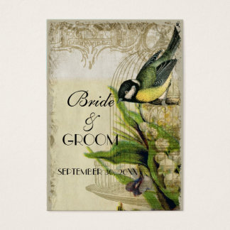 Yellow Song Bird Cage Gift Registry Insert Cards