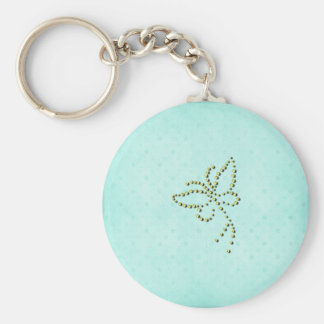 Yellow Sparkle Butterfly Blue Background Basic Round Button Key Ring