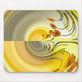 Yellow Spin Design Mouse Mat