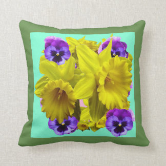 YELLOW SPRING DAFFODILS & LILAC PANSIES BLUE ART CUSHION