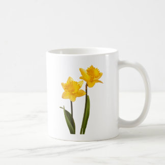 Yellow Spring Daffodils on White Coffee Mug