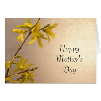Yellow Spring Forsythia Mothers Day Card