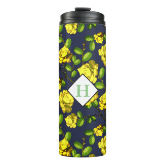 Yellow Spring Roses & Navy with Initial Thermal Tumbler