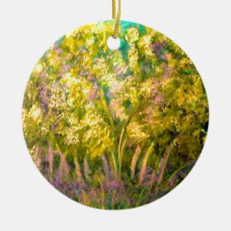 Yellow Spring Trees Design Round Ceramic Decoration