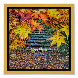 Yellow Square Photo Fall Template Autumn Leaves Poster