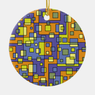Yellow squares background ceramic ornament