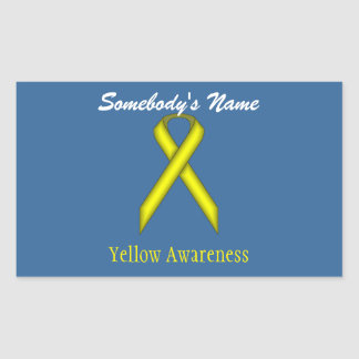 Yellow Standard Ribbon Rectangular Sticker