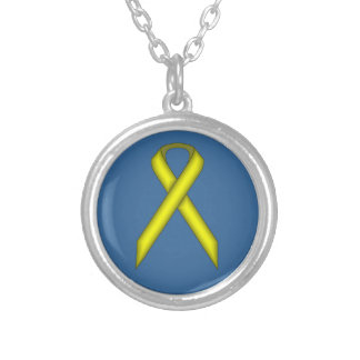 Yellow Standard Ribbon Silver Plated Necklace