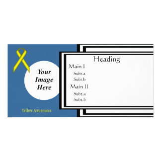 Yellow Standard Ribbon Template Personalised Photo Card