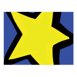 yellow star and a blue background postcard