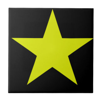 Yellow Star And Black Tile