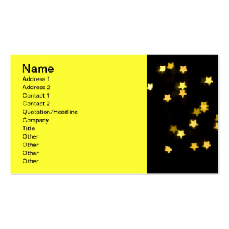 YELLOW STAR SHAPES BOKEH LIGHTS BLURRED WINTER BUSINESS CARD TEMPLATES