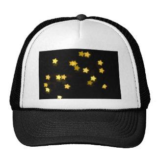 YELLOW STAR SHAPES BOKEH LIGHTS BLURRED WINTER TRUCKER HAT