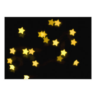 YELLOW STAR SHAPES BOKEH LIGHTS BLURRED WINTER PERSONALIZED INVITATION