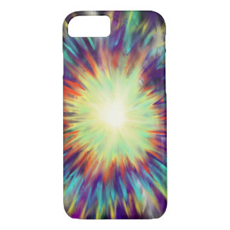 Yellow Starburst on Aqua Blue Indie Art Design iPhone 8/7 Case