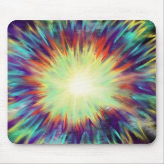 Yellow Starburst on Aqua Blue Indie Art Design Mouse Pad