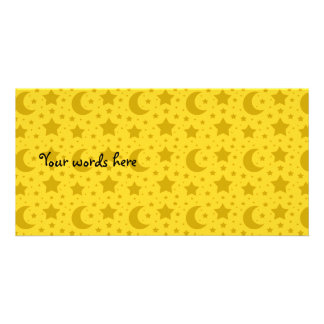 Yellow stars and moons pattern photo card template