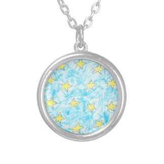 Yellow stars pattern silver plated necklace