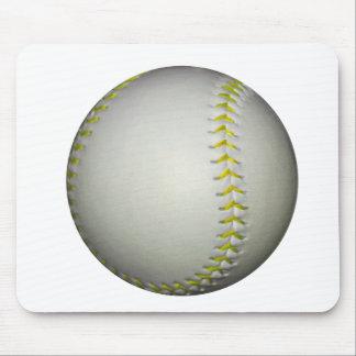 Yellow Stitches Baseball / Softball Mouse Pad