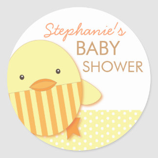 Yellow Stripe Ducky Neutral Baby Shower Sticker