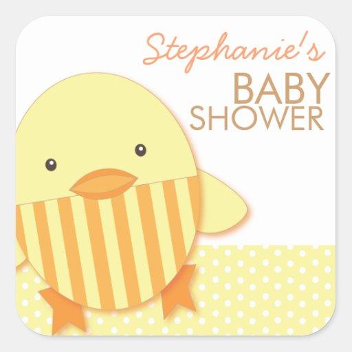 Yellow Stripe Ducky Neutral Baby Shower Sticker